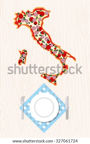 Top view of Italian pizza in shape of a map of Italy on a wooden table. Cutlery and napkin.  - stock photo