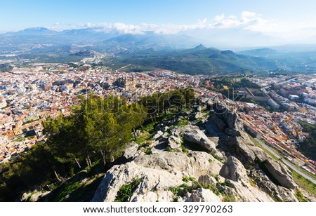 Top view of  Jaen in sunny day. Andalusia,  Spain