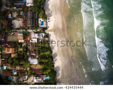 Top View of Juquehy Beach, Brazil - stock photo