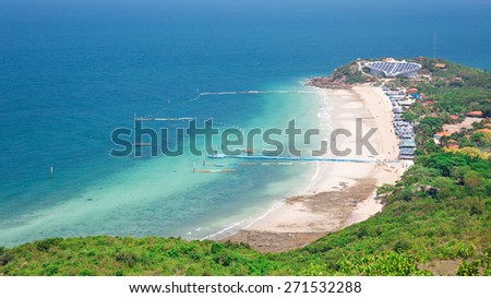 Top view of Koh Larn island samae beach in Pattaya, Chonburi Thailand. - stock photo