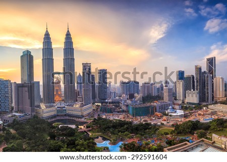 Top view of Kuala Lumper skyline at twilight - stock photo