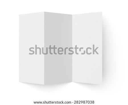 Top view of leaflet blank tri-fold paper brochure mockup isolated on white background