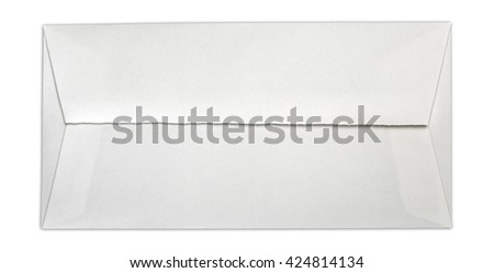 Top view of long white envelope with jagged edges. Object is isolated on white background and has soft shadow and clipping path. - stock photo