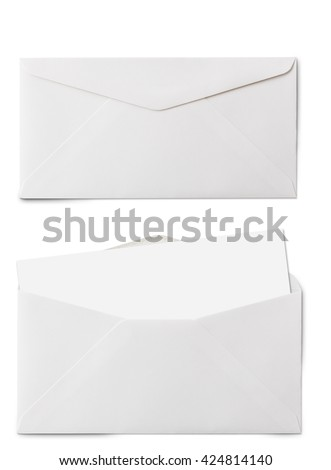Top view of long white envelopes and card. Object is isolated on white background and has soft shadow and clipping path. - stock photo