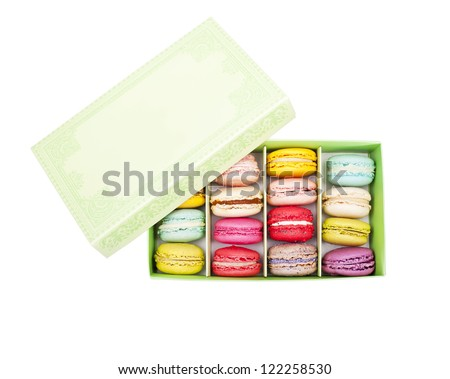 top view of macaroon in green  paper box - stock photo