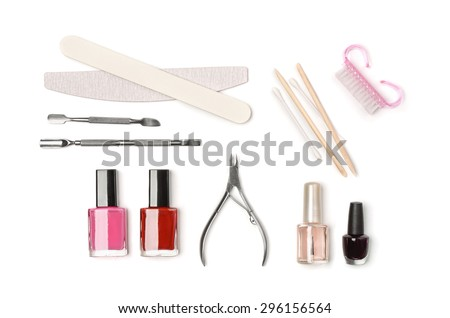 Top view of manicure equipment isolated on white - stock photo