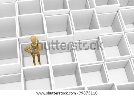 top view of many empty boxes with a wooden dummy inside one of them. the dummy is thinking about what to do (3d render)