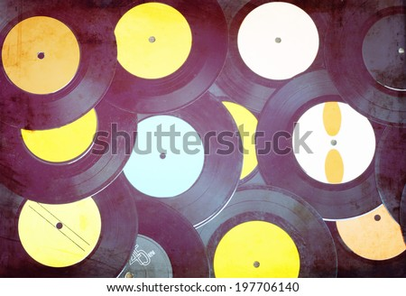 top view of many  records . vintage filter process. - stock photo