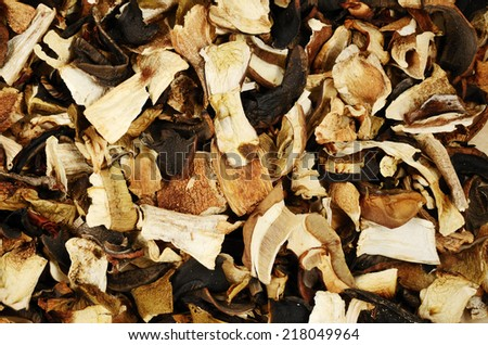 top view of mixed dried mushrooms, fill the frame - stock photo