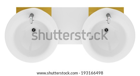 top view of modern double bathroom sink isolated on white background