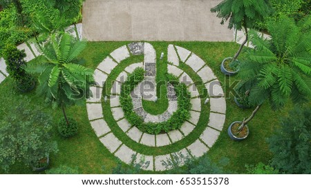 Top view of modern garden design