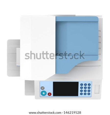 top view of modern office multifunction printer isolated on white background - stock photo