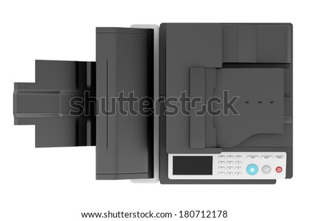 top view of modern office multifunction printer isolated on white background