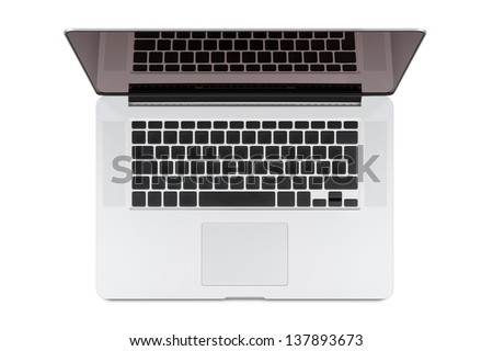 Top view of modern retina laptop, isolated on white background. High quality. You can put any symbols on the keyboard and any image on the monitor.