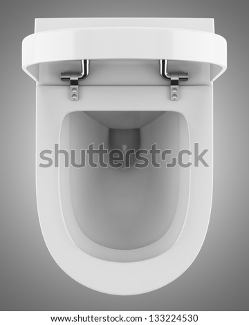 top view of modern toilet bowl isolated on gray background. Top View Modern Toilet Bowl Isolated Stock Illustration 120530380