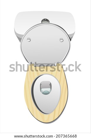 top view of modern toilet bowl with wooden cover isolated on white  background. Top View Modern Toilet Bowl Isolated Stock Vector 184893737