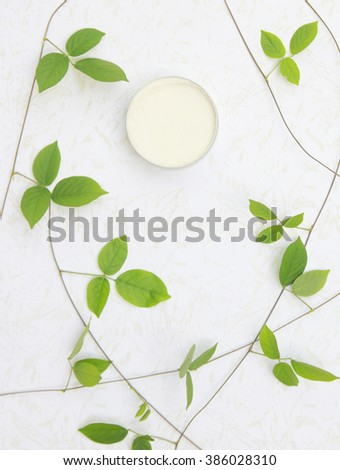 Top view of natural organic beauty cream - stock photo