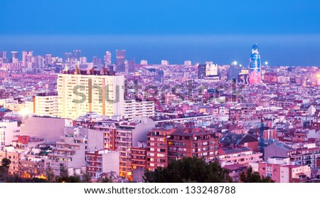 Top view of new district at Barcelona in evening, Spain - stock photo