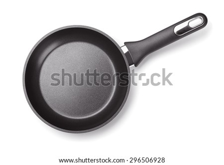 Top view of new empty frying pan isolated on white - stock photo