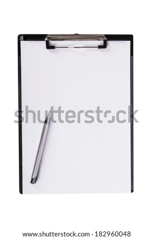 Top view of note board with pen, isolated on white background.