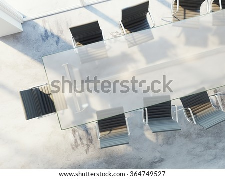 Top view of office table with chairs, conference room, advertising agency, white banner on table. 3d rendering