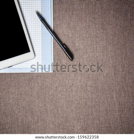 Top view of office work place. Desktop - stock photo