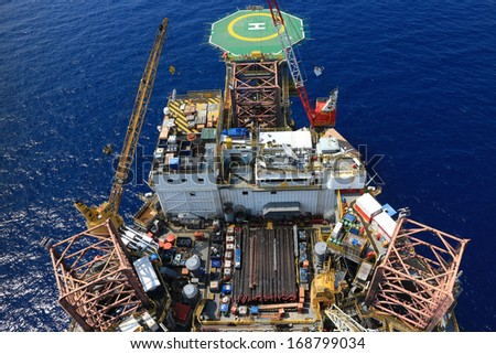 Top View of Offshore Jack Up Drilling Rig Towards The Helideck - stock photo