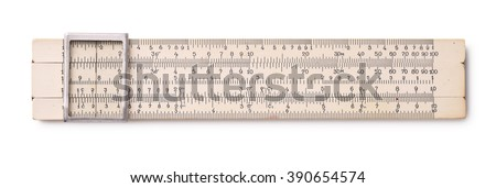 Top view of old slide rule isolated on white - stock photo