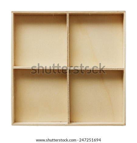 Top view of old wooden box isolated on white background - stock photo