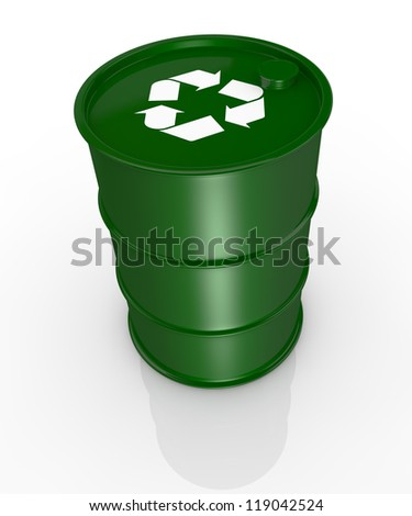 top view of one green barrel with the recycling symbol, concept of alternative energy (3d render) - stock photo