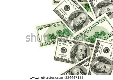 Top view of one hundred dollar bills on white background.  - stock photo