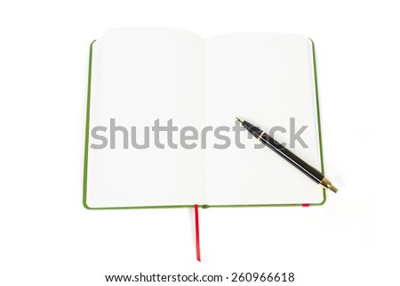 top view of open book with pen on white - stock photo