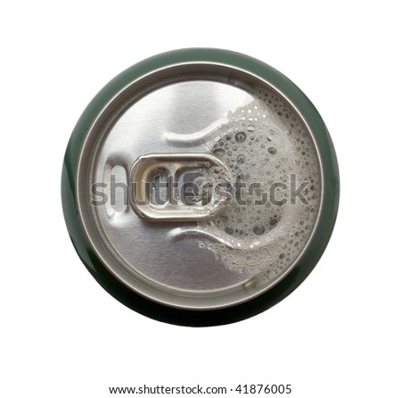 Top view of opened aluminum can with beer.