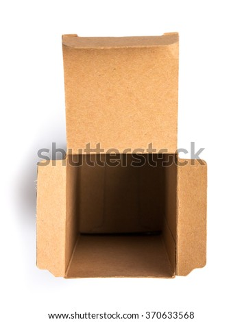 Top view of opened empty brown cardboard box