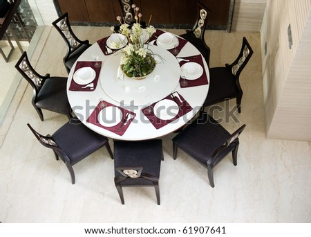 top view of oriental style dining room. - stock photo