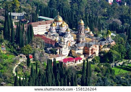 Top view of Orthodox monastery in Novy Afon, Abkhazia  - stock photo