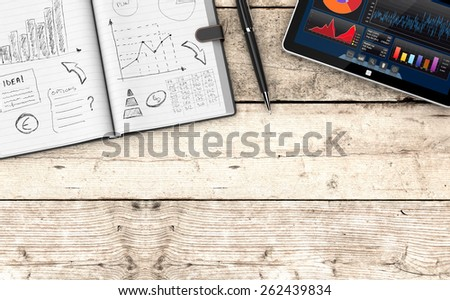 top view of paper notebook with hand drawn doodles of a business plan, a pen, a tablet pc with a financial app, wooden background with empty space at the bottom (3d render) - stock photo