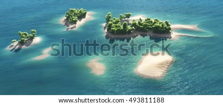 Top view of paradise tropical islands. This is a 3d render illustration