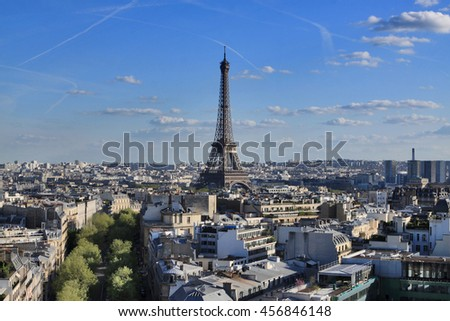 Top view of paris from Arc de Triomphe rooftop, france