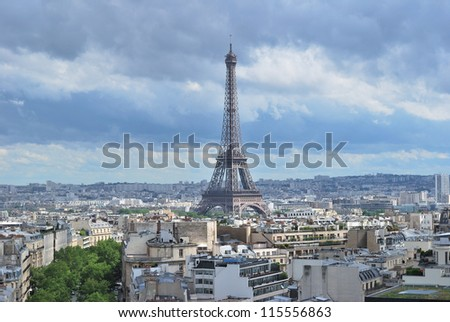 Top-view of Paris on the background of  the stormy sky