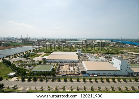 Top view of petrochemical industrial estate in Thailand - stock photo