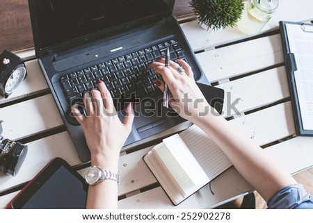 Top view of photographer workplace  - stock photo