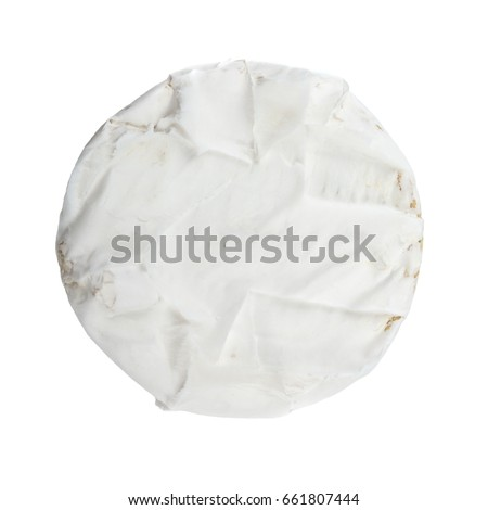 Top view of piece of camembert cheese isolated on white background