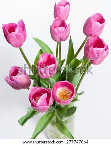 Top view of pink bouquet of tulips.
