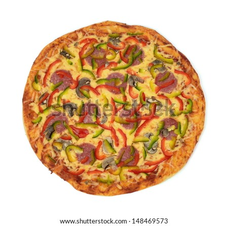 Top view of pizza isolated on white