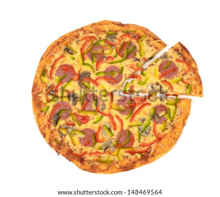 Top view of pizza with one slice isolated on white