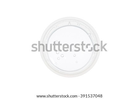 Top view of plastic cup with water on white background, concept of nutrition and diet  - stock photo