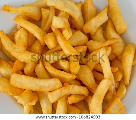 Top view of Plate of french fries