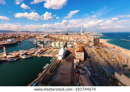 Top view of Port Vell and Barceloneta in sunny day. Barcelona - stock photo