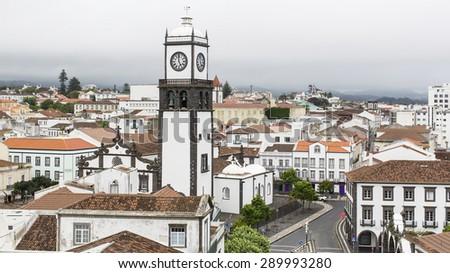 Top view of Praca da Republica in Ponta Delgada, Azores, Portugal. - stock photo